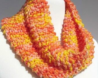 Orange Hand Knit Scarf Peach Circle Scarf Pink Hand Knit Loop Scarf Yellow Loop Scarf Pastel Circle Scarf Peach Loop Handmade FearlessFerris