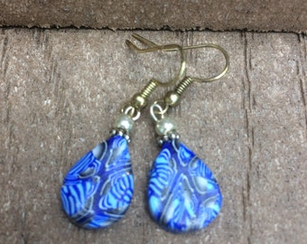 Royal Blue Multi colored - Polymer Clay Tear drop earrings