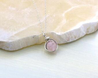 Rose Quartz Necklace, Sterling Silver, Rose Quartz Pendant, Pink Gemstone, Minimalist, Breast Cancer, Heart Chakra, Bridesmaid Gift