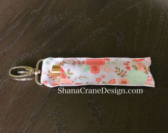 One Clip-On Lip Gloss Holder . Peach, Mint, and Gold Floral