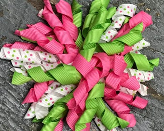 Hair Clip Korker Ribbon Headband Bow Pink Green