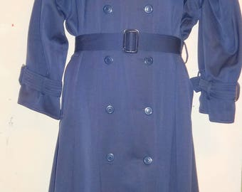 LINDA LUNDSTROM Wool Trench Coat Womens M 10 12 Navy Blue Vtg Fall Jacket long Made in Canada