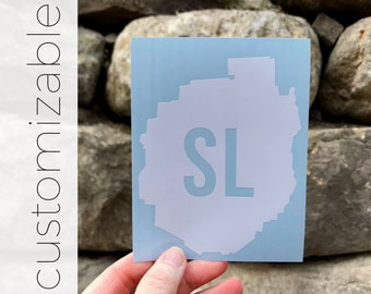 Hometown in ADK Silhouette / Adirondack Decal / Mountain Decal / Mountain Sticker / Adk Decal / ADK Sticker / North Country / Souvenir Decal