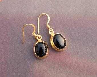 Black Onyx Earrings, Sterling Silver, Gold Filled, Onyx Jewelry, Black Dangle Earrings, Black Stone Earrings, Gift for her
