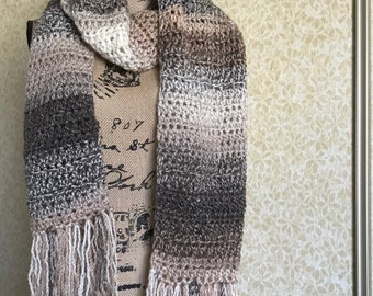 Brown and white ombre scarf fringe scarf, fringe scarf, long scarf, long fringe scarf