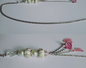 Silver necklace - beads and pendants