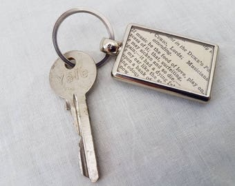 Shakespeare keying, Book quote keychain, Twelfth Night quote, Bookworm gift, Thespian gift, Food of love, Theatrical gift, Shakespeare gift