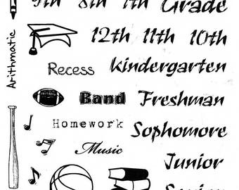 "8 1/2"" X 5"" Back to School rubber stamp sheet for planners, scrapbooks, card making, etc., sports, music, drama, Crazy Mountain Stamps #8"