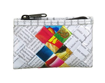 Zip coin purse using candy wrappers and office document paper - FREE SHIPPING - eco-friendly makeup bag, sustainable purse, vegan wallet
