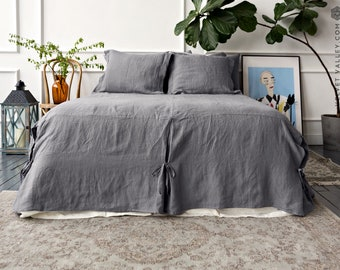 Linen bed skirt - Softened linen bedspread- Stonewashed linen bed skirt- Softened linen bed valance- Linen coverlet