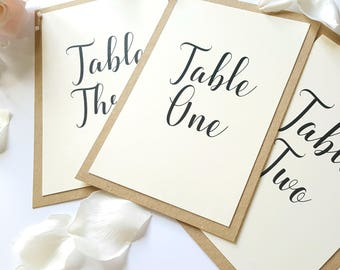 Table Number Cards A6 size Ivory & Kraft Card