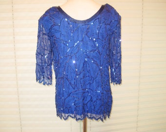 Royal blue sequined blouse, beaded blouse, 80s 90s, formal party blouse, silk blouse, zigzag hem, scoop neckline, medium, 1270