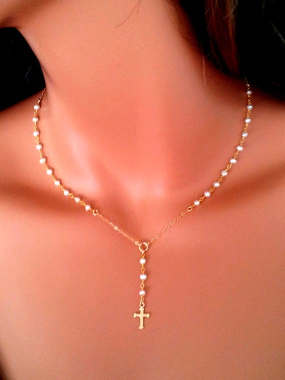 Little girls gold rosary necklace pearl cross necklaces dainty aloadofball Gallery