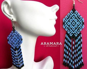 Huichol Earrings, Mexican Jewelry, Mexican folk art, Boho earrings, Mexican earrings, Native american earrings, Native Jewelry, AO-0148