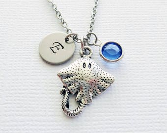 Stingray Necklace Fish Ocean Sea Life Mantaray Manta Ray Gift Jewelry Swarovski Birthstone Silver Initial Personalized Monogram Hand Stamped