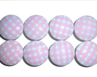Girls Baby Pink Gingham Nursery Hand Painted Drawer Knobs Pulls