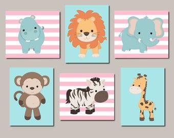 Jungle Animals Girl Nursery Decor Prints Or Canvas Wall Art Zoo Animal Nursery Safari Animals Baby Animal Prints Set Of 6