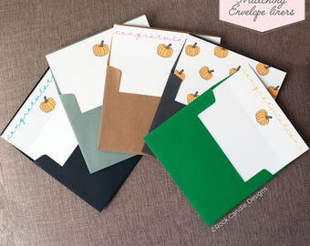 Printed Matching Envelope Liner | A2 Sized Liner | Wedding Liner | Fall Pumpkin Liner | Baby Shower Liner | Congratulations on Your Baby