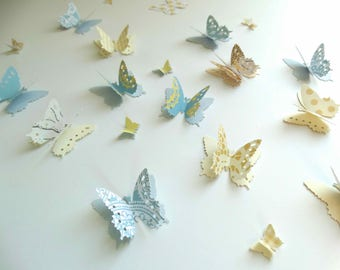 Butterfly Confetti, 3D Paper Butterflies, Baby Boy Shower Decor, 1st year boy birthday party
