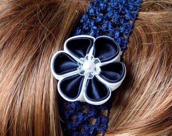 Navy/white kanzashi flower headband