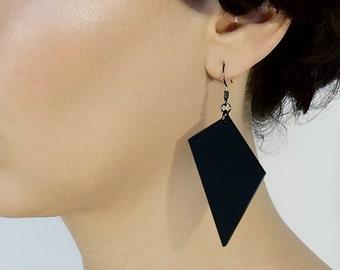 Black earrings, Large Lightweight earrings, Matte Black Acrylic jewelry, Statement earrings, Minimalist Geometric earrings, Laser cut Plexi