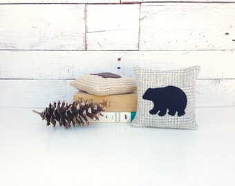 Black Bear Pillow, Black Bear Decor, Rustic Pillow, Rustic Home Decor, Cabin Pillows, Balsam Pillow, Woodland Bear, Bear Decor,Little Pillow