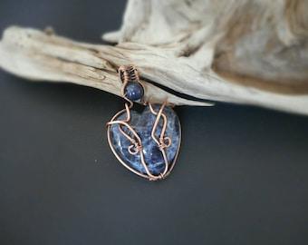 Sodalite Heart Copper Wire Wrapped Pendant - Lapis Lazuli Beads