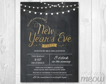 Gold New Year's Eve Party Invitation NYE Invite Chalk Board String Lights INSTANT DOWNLOAD Editable & Printable Happy New Year Celebration