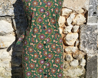 French Vintage Green Floral Sleeveless Cotton Dress Size 10/12 - 42