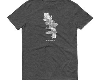 Milwaukee Shirt, Milwaukee WI, Milwaukee TShirt, Milwaukee Gift, Milwaukee Tee, Milwaukee Map, Wisconsin Shirt, Wisconsin Map, Milwaukee Art