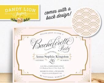 1920s Bachelorette Party Invitation, Pink + Gold, Art Deco Digital Invitation - DIY Printable