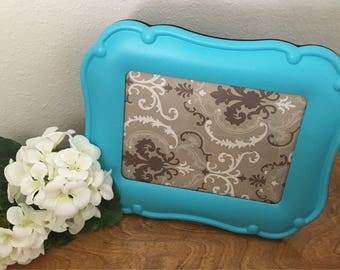 5x7 Handpainted Upcycled Turquoise Picture Frame