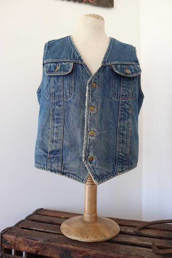 """Vintage Lee Stormrider indigo blue shearling lined denim vest cut off jacket 44"""" chest workwear western cowboy made in USA biker"""