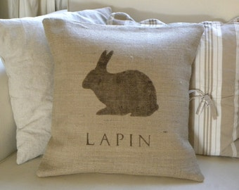 Burlap (hessian) French Rabbit Lapin pillow cover