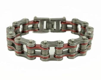 Stainless Steel 3/4 inch Wide Two Tone Distressed/Candy Red Motorcycle Chain Bracelet