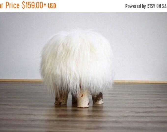 ON SALE Icelandic Sheepskin Stool | Sheepskin pouf | Sheepskin Chair | Wooden stool | Rustic stool | dressing table stool | White Stool