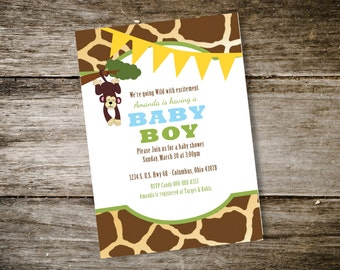 Zoo Themed Baby Shower Invitation