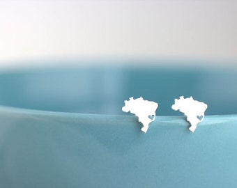 Brazil Earrings, Silver Brazil Studs, Any county earrings, I heart Brazil, Brazilian pride