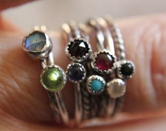 Set of 5 Gemstone Stackable Rings Mix and Match Sterling Silver