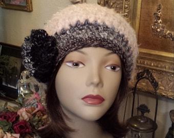 Crochet winter hat with flower