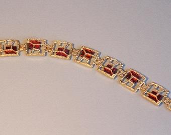 Gold unique modern link bracelet with dichroic glass, gold fill designer bracelet, made in Israel.