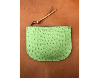 SALE • LUNA POUCH Prickly Pear Green Leather • Ostrich Embossed Leather Case