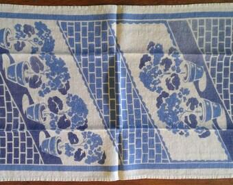 Vintage Blue Floral Tea Towel - 1940s - Geraniums in Pots
