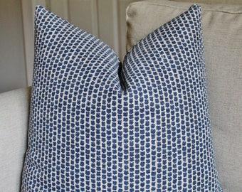 Kaya Indigo Pillow Cover // Lee Jofa Kaya Indigo Blue Dot Pillow Cover 18x18 20x20 22x22 18 20 22 24 26 Euro