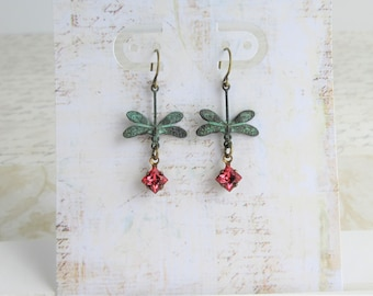 Verdigris Patina Dragonfly Earrings, Mori Girl Jewelry Romantic Boho Pretty Bohemian Fairy Tale Whimsical Dreamer Free Spirit Gypsy Soul