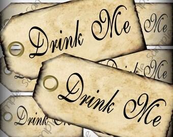 Drink Me Favor Tags Grunge Edging Alice In Wonderland Printable Instant Download Digital Collage Sheet