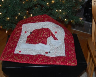 Ho Ho Ho Adorable Santa Hat Quilted Table Square 16 X18