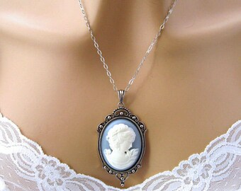 Blue Cameo Necklace: Renaissance Woman Blue Cameo Necklace, Antiqued Silver, Vintage Inspired Romantic Renaissance Jewelry