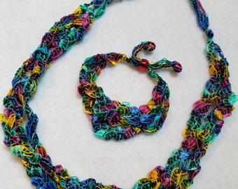 Crochetted Beautiful Multicolors, Ladder Yarn Necklace and Bracelet Set