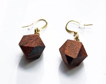 Geometric wood earrings, faceted wood earrings, wood earrings, wood gem earrings, wood dangle earrings, christmas gift, valentines gift